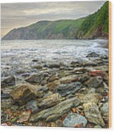 Beautiful Warm Vibrant Sunrise Over Ocean With Cliffs And Rocks Wood Print
