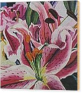 Becky's Lilies Wood Print