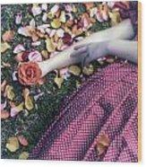 Bedded In Petals Wood Print