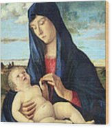 Bellini's Madonna And Child In A Landscape Wood Print