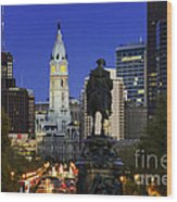 Ben Franklin Parkway And City Hall Wood Print