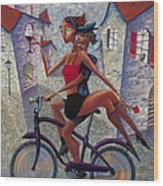 Bike Life Wood Print by Ned Shuchter