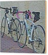 2 Bikes Against Wall Wood Print
