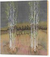 2 Birch Groves Wood Print by Carolyn Doe