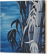 Blue Bamboo Wood Print by Holly Donohoe
