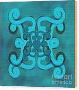 Blue Double Scroll Wood Print