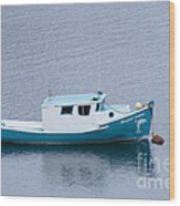Blue Moored Boat Wood Print