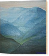 Blue Mountain Ridges Wood Print by Glenda Barrett