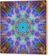 Blue Rainbow Star Mandala Wood Print