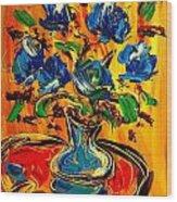 Blue Roses Wood Print