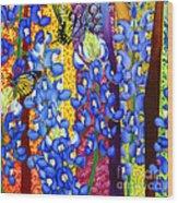 Bluebonnet Garden Wood Print