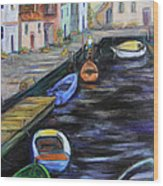 Boats In Front Of The Buildings IIi Wood Print