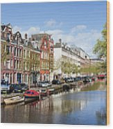 Boats On Amsterdam Canal Wood Print
