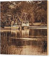 2 Boats On The Bon Secour Sepia Wood Print