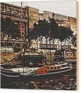 Boats On The Seine Wood Print