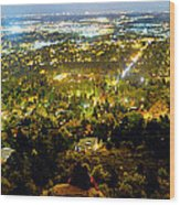 Boulder Colorado City Lights Panorama Wood Print