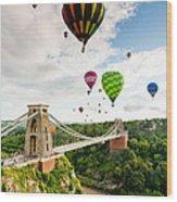 Bristol Balloon Fiesta Display Over Clifton Suspension Bridge Wood Print