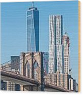 Brooklyn Bridge And New York City Manhattan Skyline Wood Print
