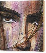 Brown Iris Entangled Wood Print