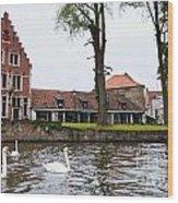 Brugge Canal Scene Wood Print