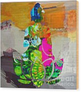 Buddah On A Lotus Wood Print