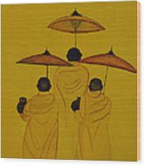 Buddha Monks Wood Print