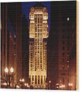 Buildings Lit Up At Night, Chicago Wood Print
