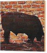Bull At Sunrise Wood Print
