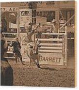 Bull Rider Wood Print