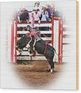 Bull Riding Wood Print