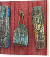 Buoys At Rockport Motif Number One Lobster Shack Maritime Wood Print by Jon Holiday