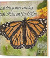 Butterfly Scripture Wood Print