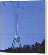 Cableway In Long Exposure Wood Print