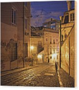 Calcada Da Gloria Street At Night In Lisbon Wood Print
