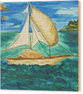 Camouflage Sailboat Wood Print by Debbie Nester