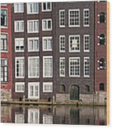 Canal Houses In Amsterdam Wood Print