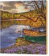 Canoe At The Lake Wood Print