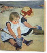 Cassatt's Children Playing On The Beach Wood Print