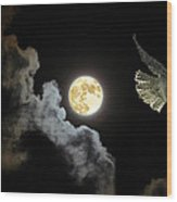 Caught By The Moon Wood Print