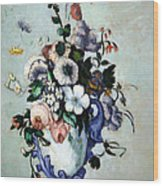 Cezanne's Flowers In A Rococo Vase Wood Print