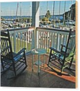 2 Chairs On The Fairhope Yacht Club Porch Wood Print