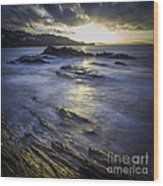 Chamoso Point In Ares Estuary Galicia Spain Wood Print