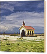 Chapel By The Sea Wood Print
