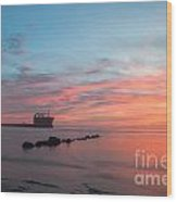 Charleston Harbor Sunset Wood Print