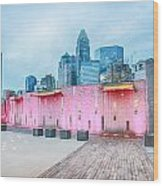 Charlotte City Skyline In The Evening Wood Print
