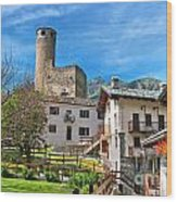 Chatelard Village With Castle Wood Print