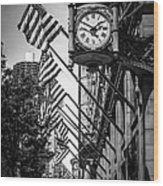 Chicago Macy's Clock In Black And White Wood Print by Paul Velgos
