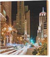 Chicago Michigan Avenue Light Streak Wood Print