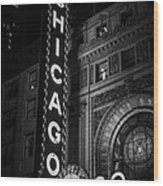 Chicago Theatre Sign In Black And White Wood Print by Paul Velgos