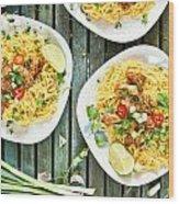 Chicken Noodles Wood Print